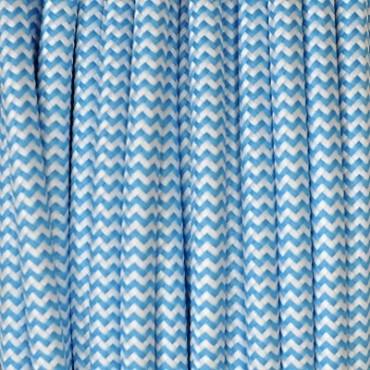 Câble Textile Zébré Bleu Turquoise