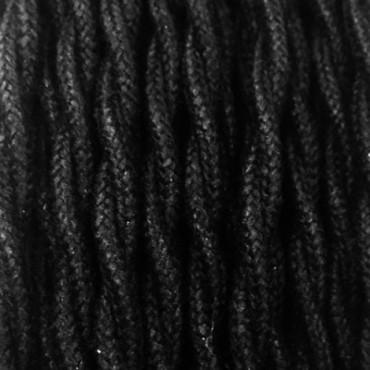 Câble Textile Torsadé Lin Noir