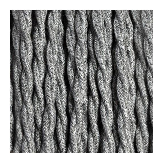 Câble Textile Torsadé Lin Gris