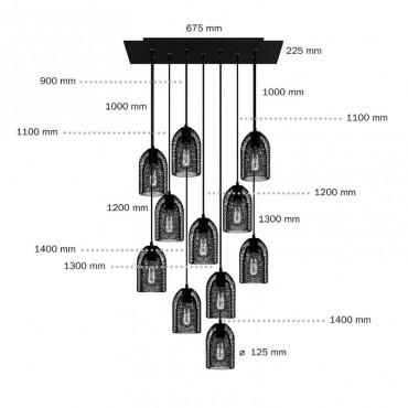 Suspension noire 11 lampes Suspensions 350,00€