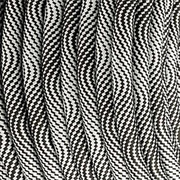 Fil électrique tissu - Câble textile Hypno Noir et Blanc Fil électrique tissu câble rond 2x0.75 mm² 2,67€