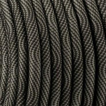 Fil électrique tissu - Câble textile Hypno Noir et Gris Fil électrique tissu câble rond 2x0.75 mm² 2,67€
