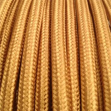 Fil électrique tissu plat or - 2x0.75mm2 Fil électrique tissu - câble plat 2x0.75mm2 2,92€