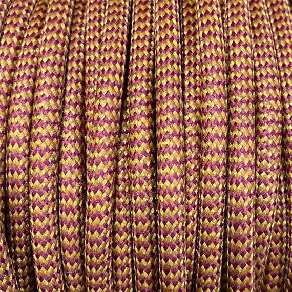 Fil électrique tissu - Câble textile zébré bordeaux moutarde Fil électrique tissu câble rond 2x0.75 mm² 2,08€