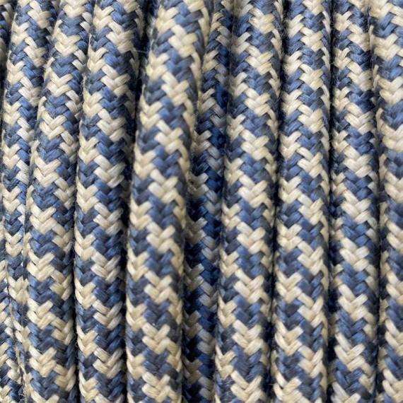 Câble Textile Fil électrique Lin et Lin Bleu Fil électrique tissu câble rond 2x0.75 mm² 2,08€