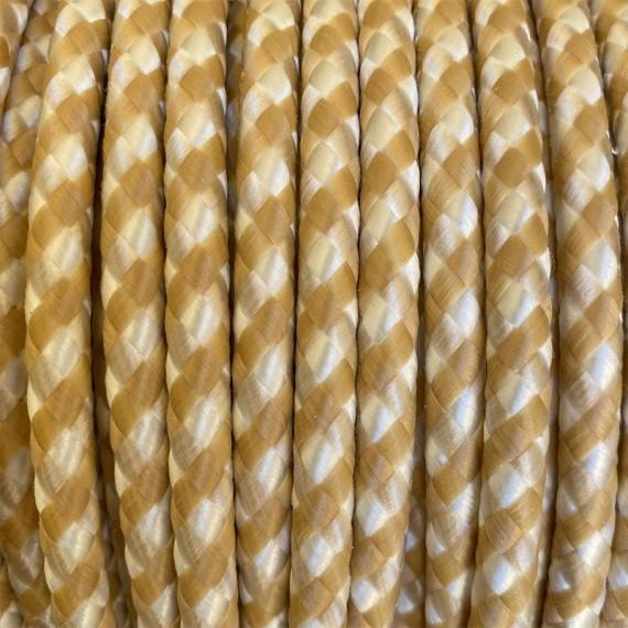 Câble Textile Spirales - Blanc et Beige Fil électrique tissu câble rond 2x0.75 mm² 2,08€