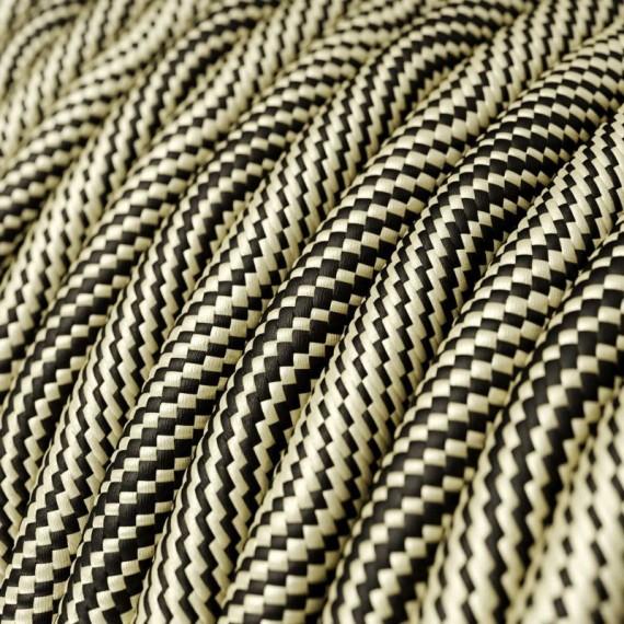 Câble textile Hypno Noir et Or - Fil électrique tissu 2x0.75mm2 Fil électrique tissu câble rond 2x0.75 mm² 3,08€