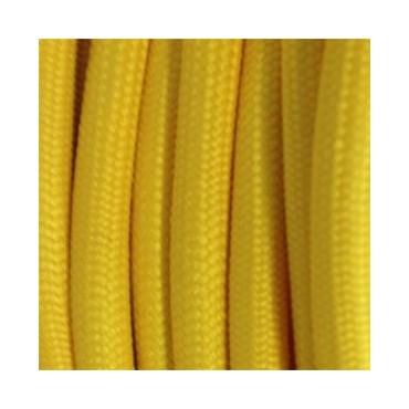 Fil électrique tissu jaune - Câble Textile - 3x0.75mm2 Fil électrique tissu - câble rond 3x0.75 mm² 2,67€