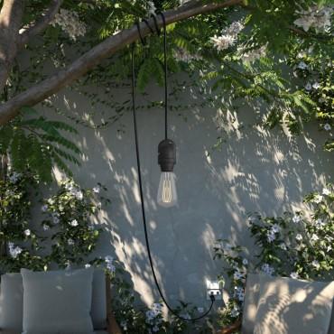 Baladeuse de jardin étanche - IP65 - Câble noir 5m - avec anneau Lampe Baladeuse 37,50€