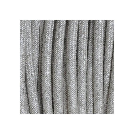 Câble Textile Lin Beige chiné Blanc 3 fils Fil électrique tissu - câble rond 3x0.75 mm² 2,83€