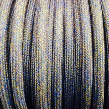 Câble Textile Bleu et Jaune Moutarde Fil électrique tissu câble rond 2x0.75 mm² 2,33€