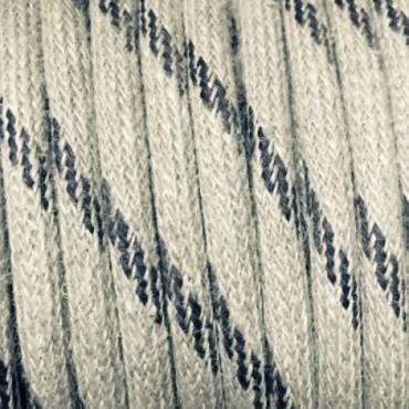 Câble Textile Lin Beige inserts noirs Fil électrique tissu câble rond 2x0.75 mm² 2,08€