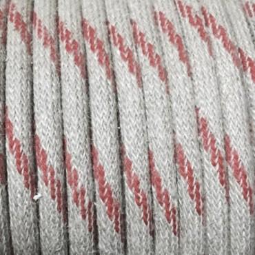 Câble Textile Lin Beige inserts rouges Fil électrique tissu câble rond 2x0.75 mm² 2,08€